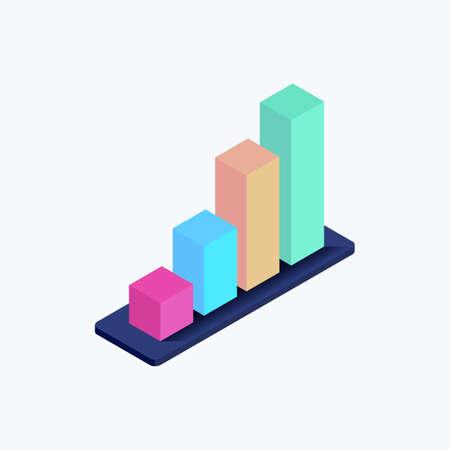 Statistics Bars Isometric Color Icon Ilustracja