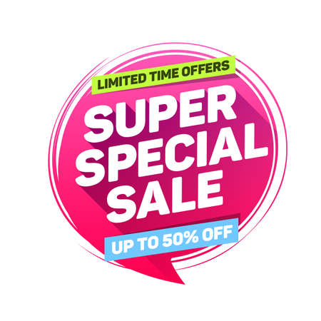 Super Special Sale Limited Time Offers Label Ilustracja