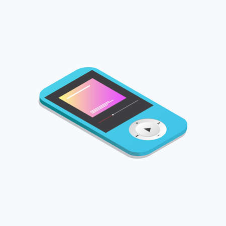 Modern Portable Music Player Device Isometric Color Icon Ilustracja