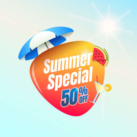Summer Special 50% Off Shopping Label Ilustracja