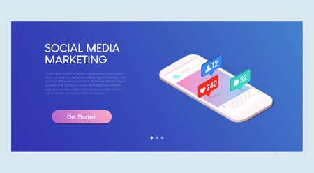 Social Media Marketing Isometric Banner Template Ilustracja