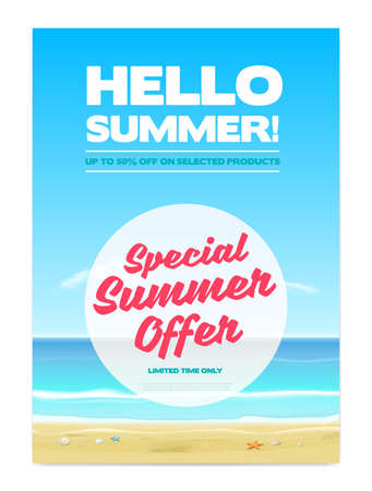 Hello Summer Special Offer Advertising Poster Background Ilustracja