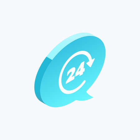 24 Hour Service Isometric Color Icon