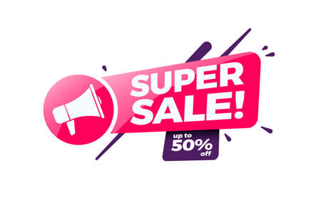 Super Sale 50% Off Shopping Label Ilustracja