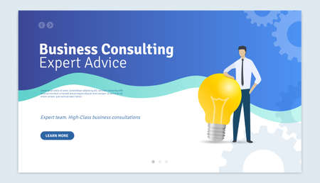 Business Consulting Expert Advice Web Page Design Template Ilustracja