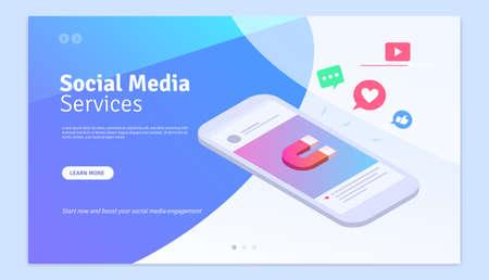 Social Media Marketing Services Web Page Design Template Ilustracja