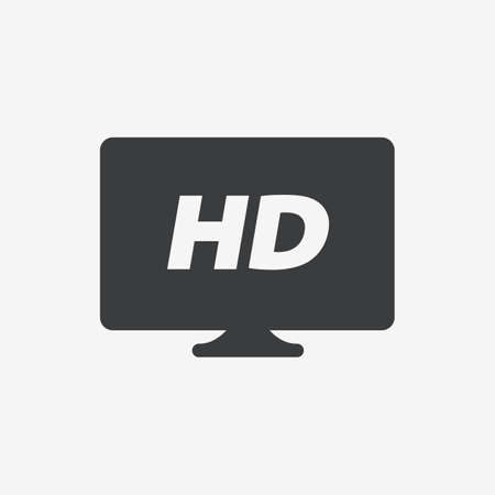 High Definition HD TV Flat Vector Icon
