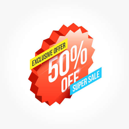 Exclusive Offer 50% Off Shopping Announcement Label