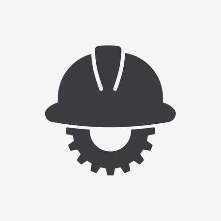 Safety Helmet Construction Flat Vector Icon Ilustracja