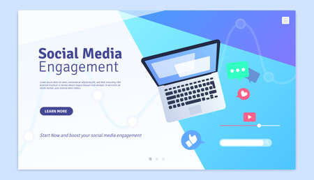 Social Media Engagement Marketing Web Page Design Template