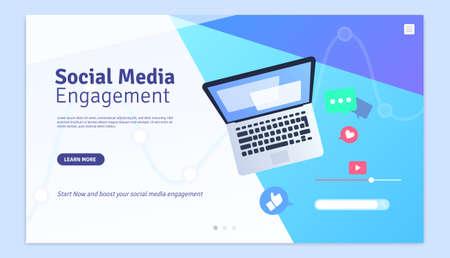 Social Media Engagement Marketing Web Page Design Template