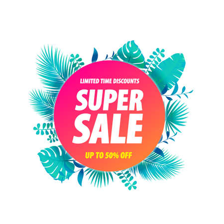 Super Sale Label Tropical Leaves Background Stock Illustratie