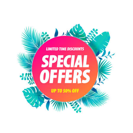 Special Offers Label Tropical Leaves Background