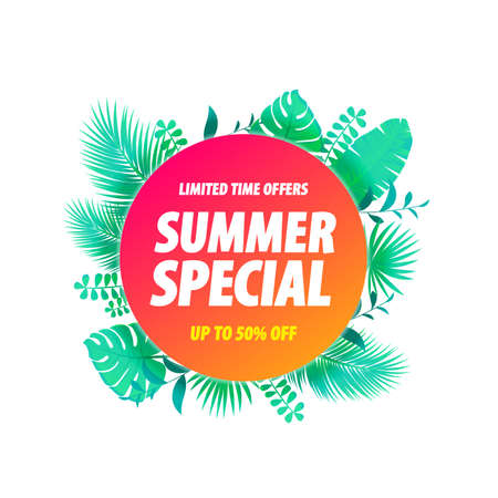 Summer Special Label Tropical Leaves Background Stock Illustratie
