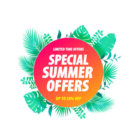 Special Summer Offers Label Tropical Leaves Background