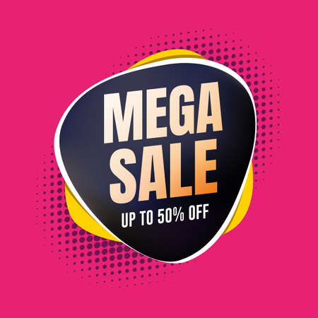 Mega Sale 50% Off Shopping Label