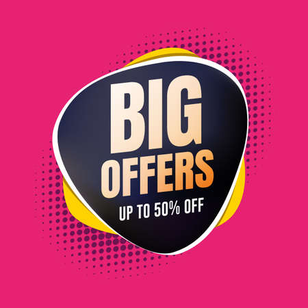 Big Offers 50% Off Shopping Label Stock Illustratie