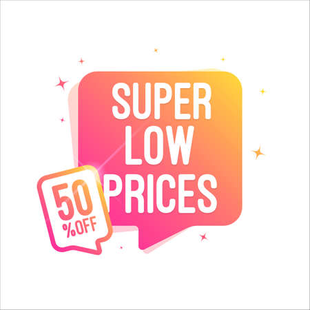Super Low Prices 50% Off Shopping Tag  イラスト・ベクター素材