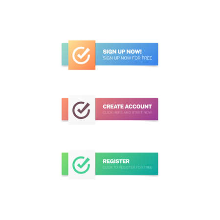 Sign Up Now, Create Account & Register Modern Web Buttons