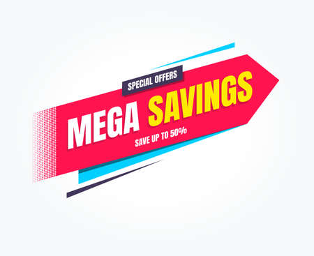 Mega Savings Special Offers Shopping Label Stock Illustratie