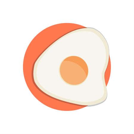 Fried Egg Icon Round Background