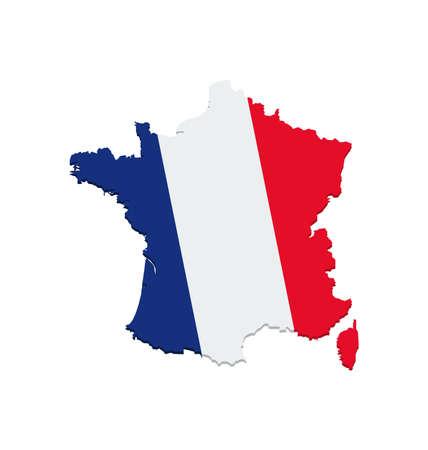 France Flag Vector Map Vector Illustratie