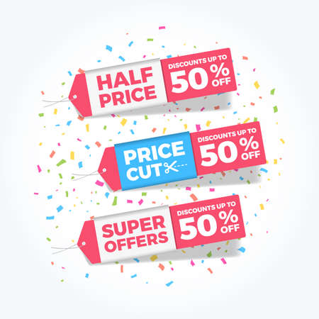 Half Price, Price Cut & Super Offers 50% Discounts Shopping Tags