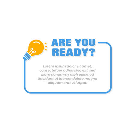 Are You Ready Banner Frame Template with Bulb Icon Vettoriali