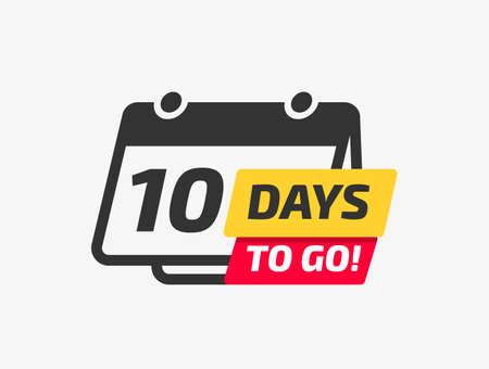 Ten Days To Go Calendar Icon On Yellow Background