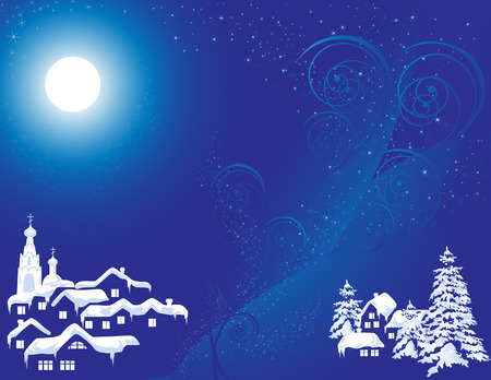 Christmas country in the nigrht, vector illustration, file included Stock Vector - 2440608
