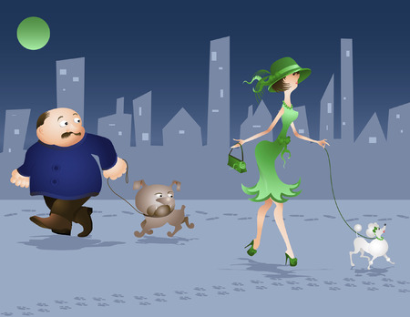 Girl and dog walking, vector illustration, Ill8 and AI files in ZIP archive included Vector