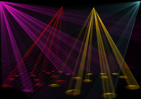 Disco lights, vector illustration, and AI files included