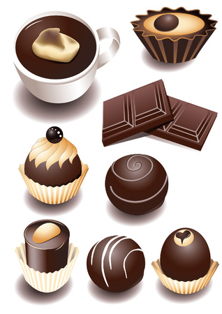 Chocolate sweets, vector illustration, included Illustration