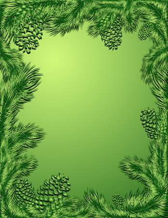 Green frame of pine trees branch, vector illustration, files included Vector