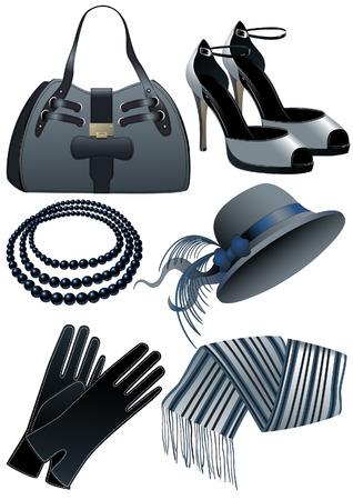 zapatos azules: Moda objetos, ilustraci�n vectorial, archivo EPS incluido  Vectores