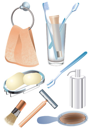 Morning hygiene objects, vetcor illustration, file included