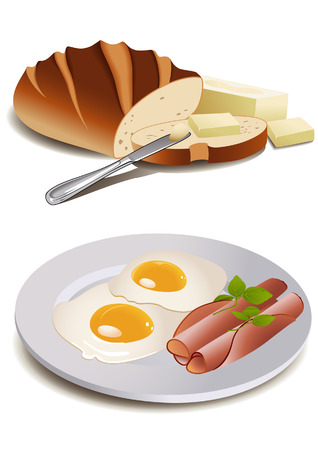 Breakfast food, vector illustration, file included Vector