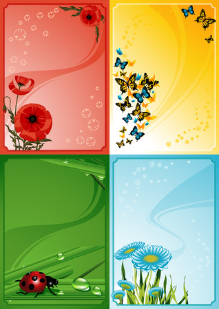 Four floral frames, vector illustration, file included Vector