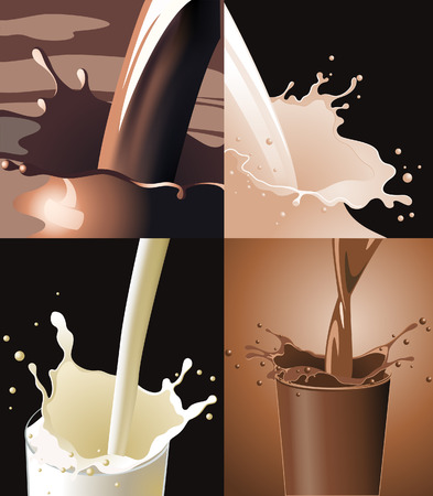 Drinks splash, four pictures, vector illustration, file included Illustration