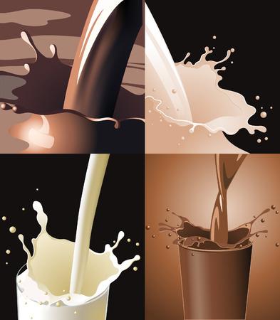 ungleichgewicht: Getr�nke spritzen, vier Abbildungen, vektorabbildung, die eingeschlossene EPS Akte Illustration