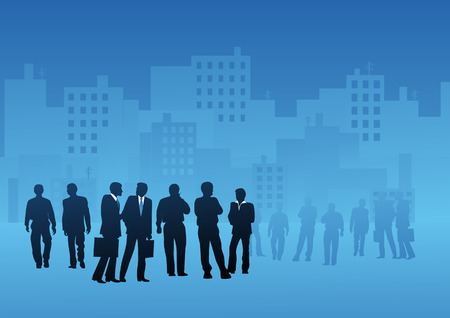 Business people in the city, vector illustration, file included