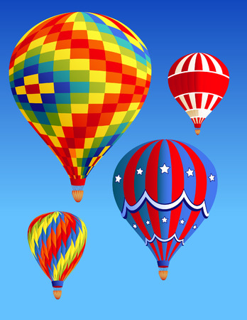 viewpoints: Balloons flying in the sky, vector illustration, file included