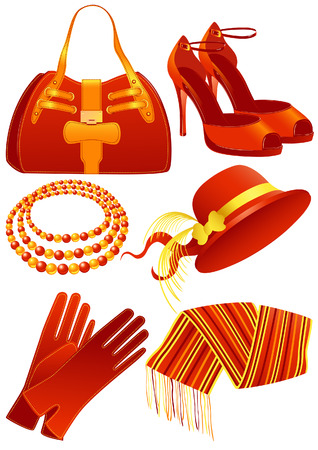 bonnet illustration: Fashion objects red color, vector illustration, EPS file included