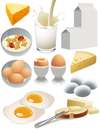 pasteurized: Dairy products, vector illustration, file included