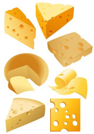 kaas: Kaas stukken, vector illustration, EPS bestand opgenomen