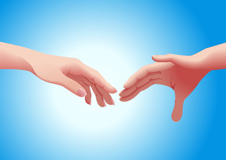outstretched: Couple hands, vector illustration, file included Illustration