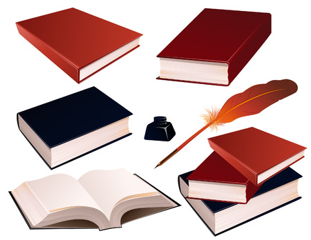 inkpot: Books on isolated background, vetcor illustration, file included