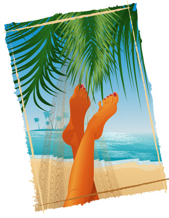 Woman lying in the hammock, vector illustration, EPS file included