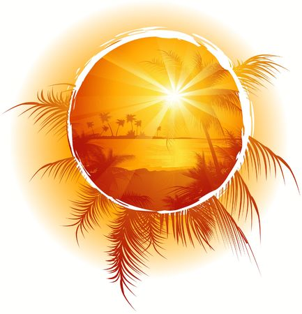 Tropical frame, sunset on the beach, vector illustration Stock Photo