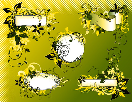 Green floral frame collection, vector illustration, file included Stock Vector - 3248506